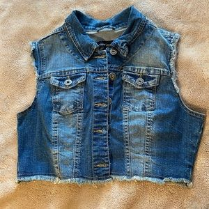 new look cropped blue jean vest